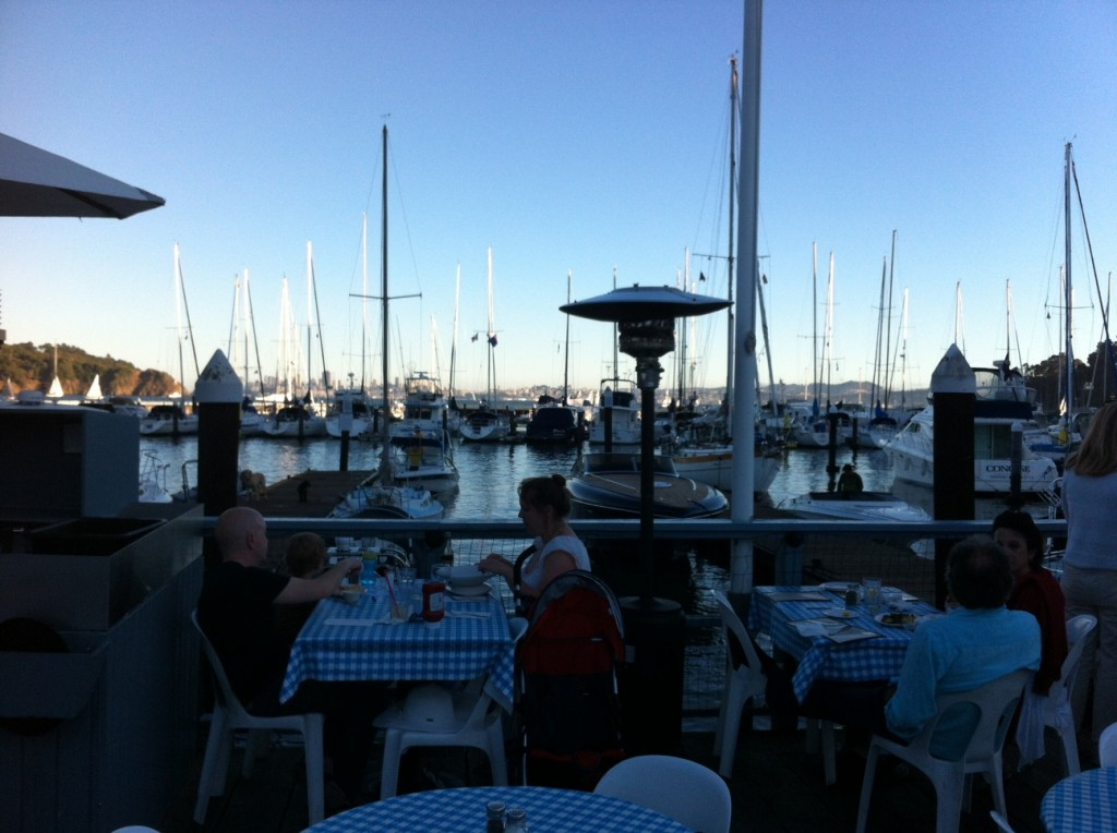 We dined outdoors Friday evening at Sam's Anchor Cafe, looking out on the bay.
