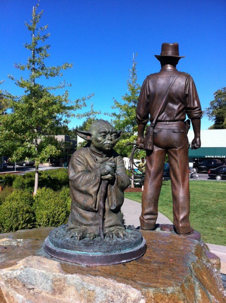 Imagination Park in San Anselmo pays tribute to Yoda and Harrison Ford, two of the most famous creations of local movie producer George Lucas.