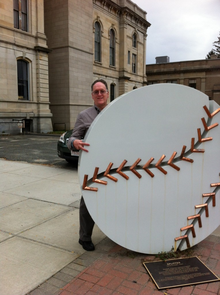 I tried out my fastball grip on some of the outdoor art in Pittsfield.