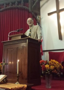 Don Buttry preaching in First Baptist Church of Shenandoah, Iowa, September 2013.