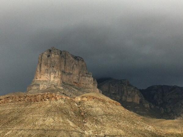 On the way to Carlsbad from El Paso, El Capitan looked imposing against a cloudy sky in the Guadalupe Mountains National Park.