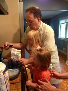 Gramps helps Julia and Madeline make pancakes