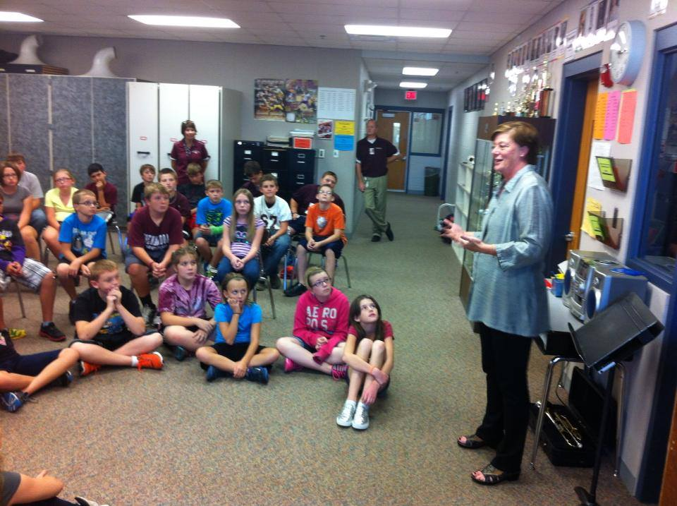 Mimi and I talked about writing to sixth-graders in our Shenandoah visit.