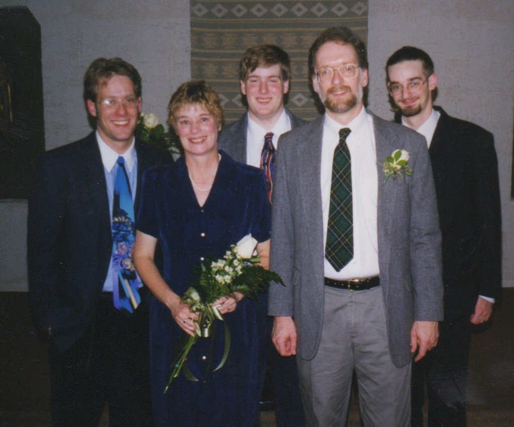 We renewed our vows on our 25th anniversary, joined by the three sons who had joined us since the first vows.