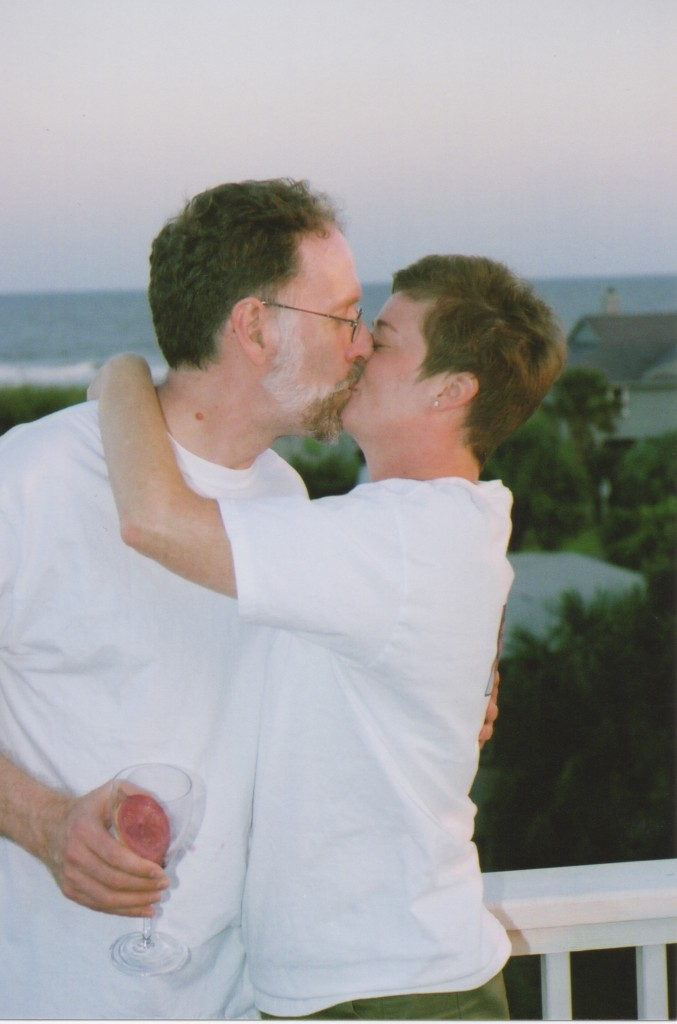 My companion and I share a kiss at the Charleston condo where we celebrated the Heads' 30th anniversary.
