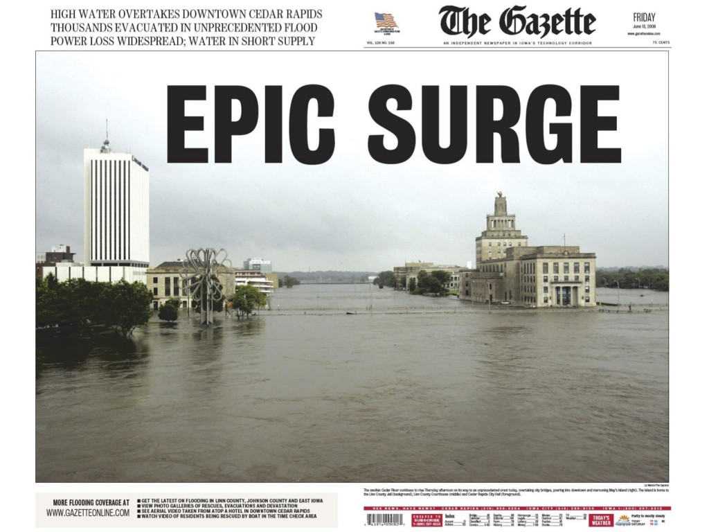 The wraparound front page from June 13, 2008, my fourth day as editor of the Gazette