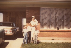 Our family in front of our Sunset home in 1961.