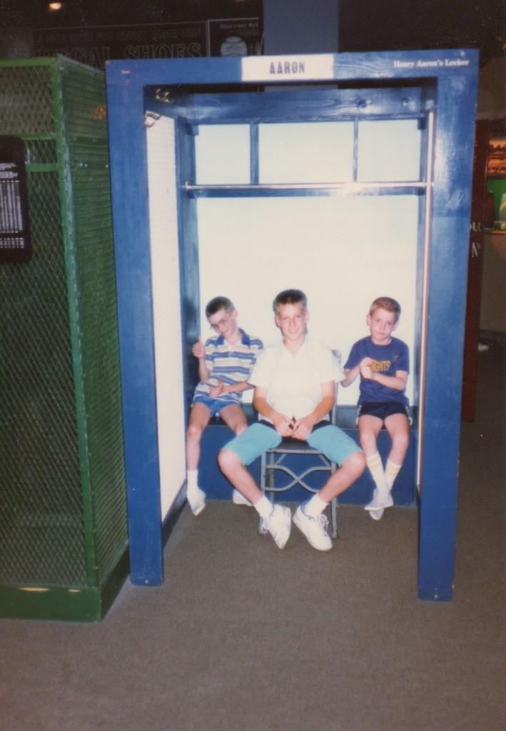 Joe, Mike and Tom in Hank Aaron's locker in Cooperstown.