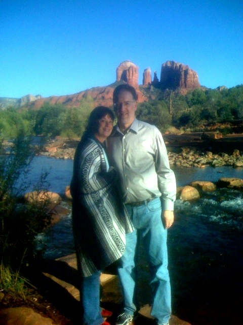 "Taz, a most memorable tour guide, shot this photo of my traveling companion and me on the ""vortex tour"" of Sedona."