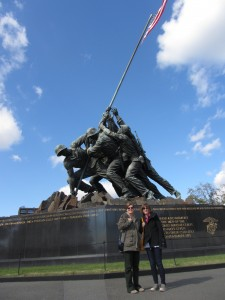 My traveling companion and her sister, Mary Head, visiting the Iwo Jima memorial.