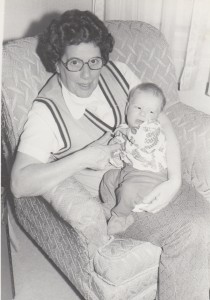 """Mike was our only child not born in Iowa, but we lived in Shenandoah when he was born. His maternal grandparents, including """"Nan,"""" holding him here, lived nearby in Essex."""