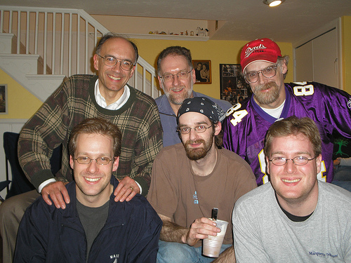 One of my favorite family gatherings was when my brothers and Joe flew in for the Super Bowl in 2006, a meeting of two generations of Buttry brothers: Dan, me and Don in back, Mike, Joe and Tom in front.