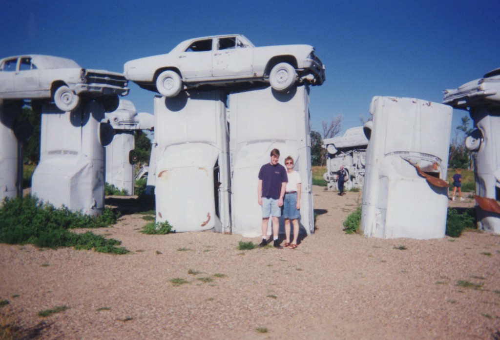 Tom and my traveling companion at Carhenge