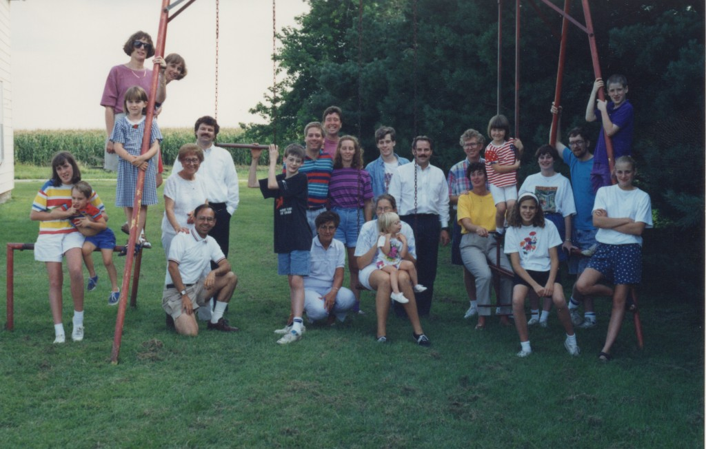 The Johnson family visited their old family farm in Essex after Wes's funeral in 1993.