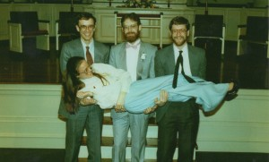 Dan, Don and I pose with Carol at her wedding in Syracuse.
