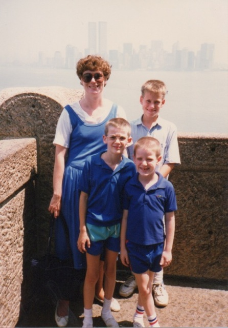 Our visit to the Statue of Liberty in 1989 included the obligatory shot of the family with the New York skyline in the background, back when it still included the twin towers of the World Trade Center.