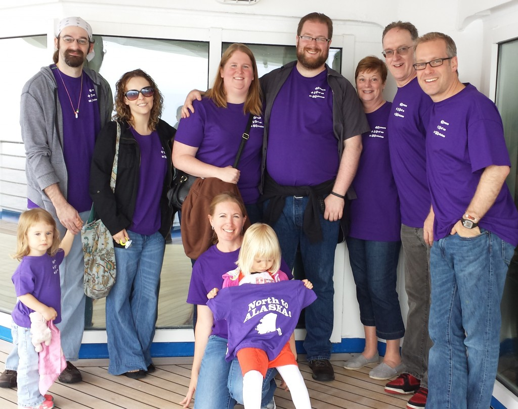 Our family sails to Alaska aboard the Coral Princess. Back, from left, Madeline, Joe, Kim, Ashley, Tom, my traveling companion, me, Mike. In front are Susie with Julia, showing off the back of the shirt.