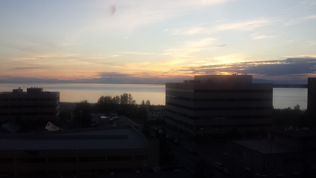 Our last night in Alaska, at the Hotel Captain Cook in Anchorage, we got a nice farewell sunset.