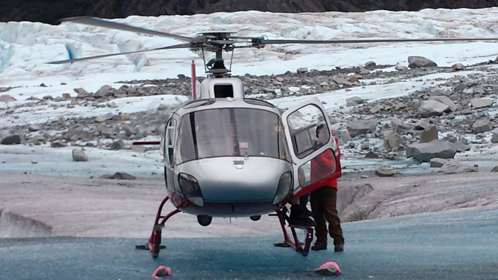 Our helicopter on the glacier.
