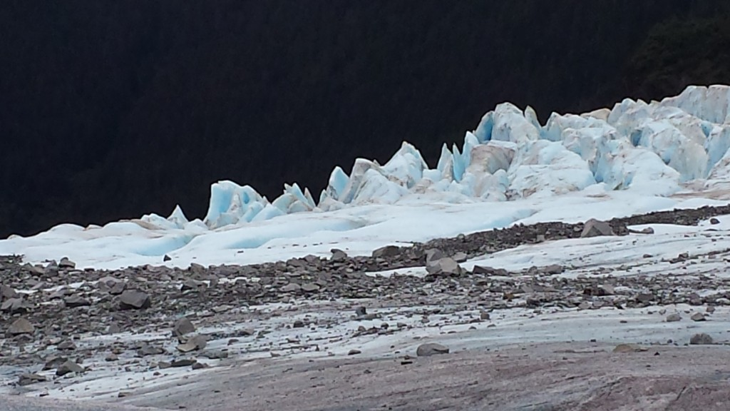 Surprises on the glacier's surface included the massive chunks of jagged ice and the countless boulders swept up in the glacier's downward movement. Most of them will fall into crevasses and be crushed into silt.