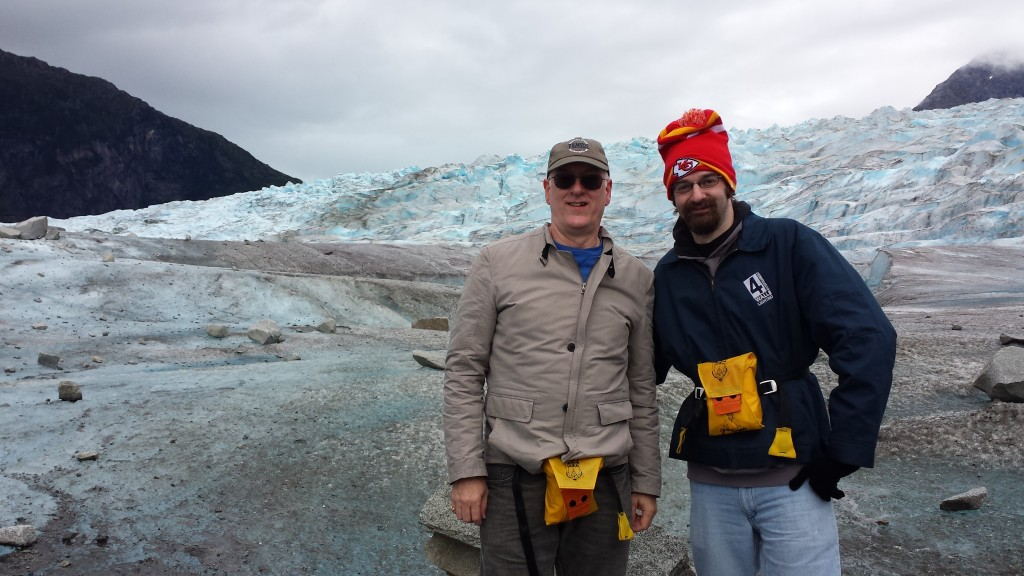 The guide shot a photo of Joe and me in front of an ice fall. The yellow things we wore are life vests, required for the helicopter flight.