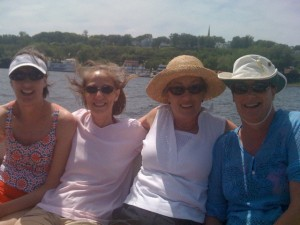 My traveling companion, right, enjoying a cruise on the St. Croix with her sisters, from left, Mary, Donna and Carol.