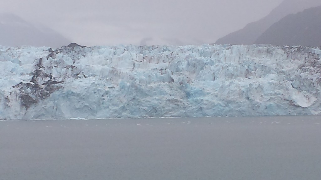 A closer look at our last glacier. It was here that we spotted our first bear, a black bear off to the right of the glacier. We got a pretty good look at him through binoculars, lumbering around down by the shore, though he was too far away for photos.